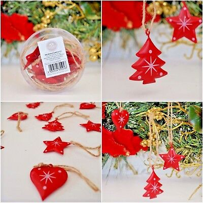 Red /& Green Metal Trees Craft for Christmas Embellishments