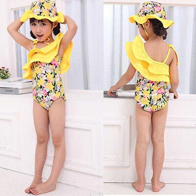 TAOJIAN Baby Girl Swimsuit Kid Girl One Piece Swimwear Bikini with Hat Sets