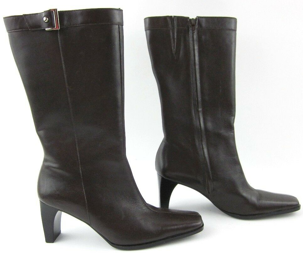 New Etienne Aigner 'Magnet' Mid Calf Leather Boots Chocolate Brown 8.5M