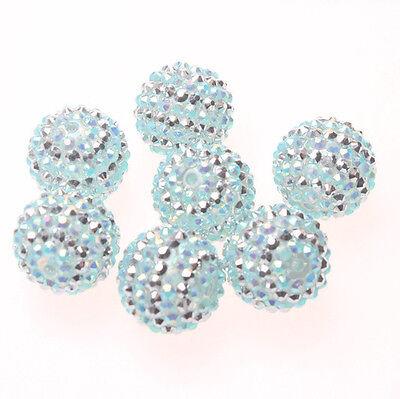 22mm 100pcs Frozen Resin Rhinestone Bubblegum Chunky Beads Necklace Bracelet