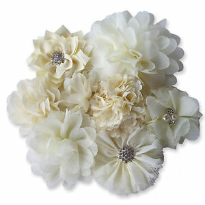 CREAM-IVORY-Fabric-Flowers-CRAFT-Glue-Sew-On-Embellishment-Applique-Garment-Hair