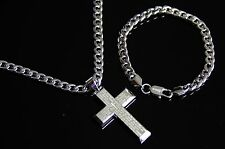 Men's Stainless Steel Silver PRAYER BIBLE CROSS Pendant Cuban Necklace Bracelet