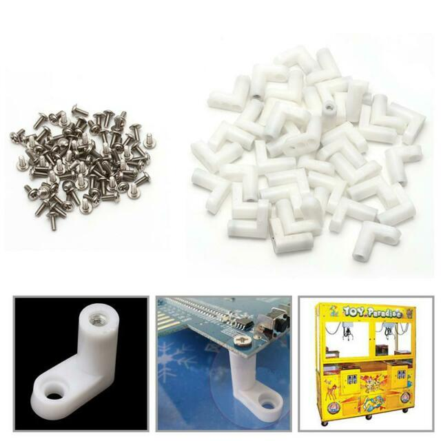 40Pcs L Type PCB Mounting Feet with Screw Set for Arcade JAMMA MAME Game Boards
