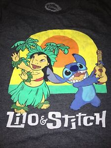Disney Lilo and Stitch Hula Dancer Dance Hot Topic Unisex Small Grey Crew Tee