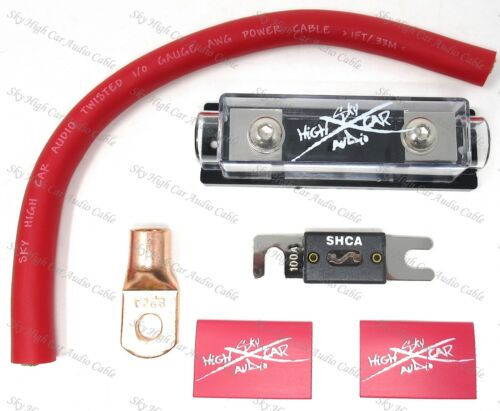 SKY HIGH 200 AMP ANL Fuse Holder BATTERY INSTALL KIT 0 GAUGE 1 FT OFC RED