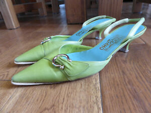 Salvatore Green Vgc 8 Us Kitten Sling Shoes Uk 6 Ferragamo Heels Backs rr5fPAqw