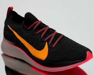 b59e18445bb4 Nike Zoom Fly Flyknit Running Shoes Black Orange Peel 2018 Sneakers ...
