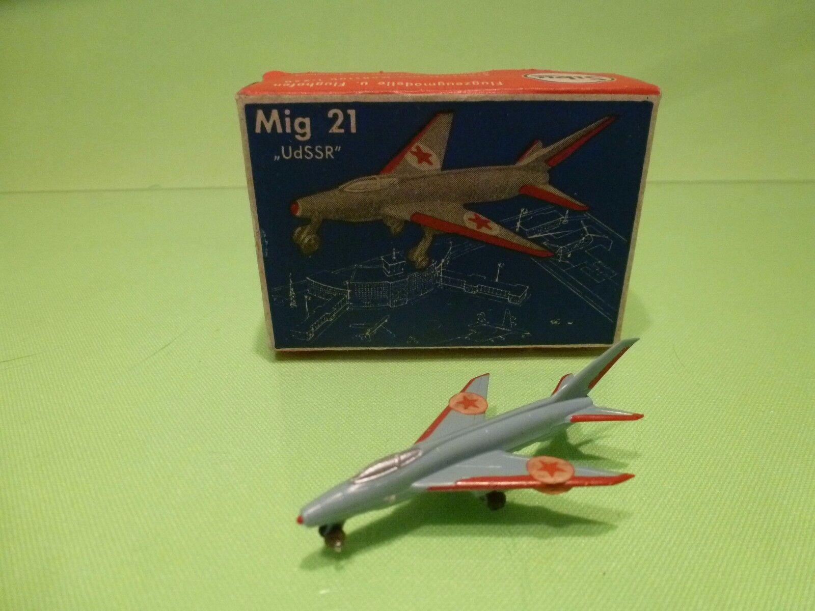 SIKU PLASTIC F33a FLUGZEUG MIG 21 UDSR - blå röd 1 250 - GOTT I låda - PLASTIK