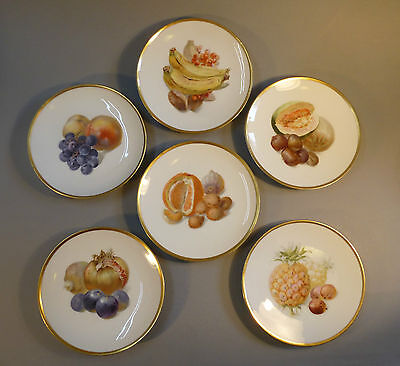 Stile Liberty Porcellana 6 Piatto Per La Frutta Con Diverse Circa 1910 Complementi D'arredo