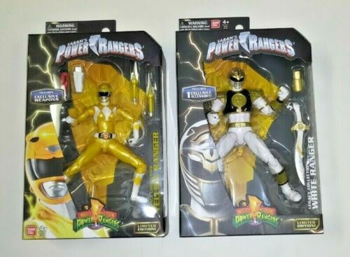 New Sealed Set of 2 Mighty Morphin Power Rangers Legacy White And Yellow Rangers
