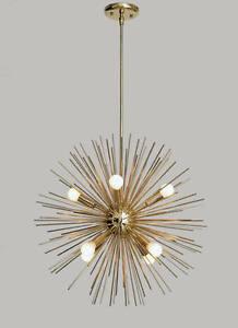Details About Mid Century Modern Large Round Urchin Chandelier Polished Brass Starburst Light
