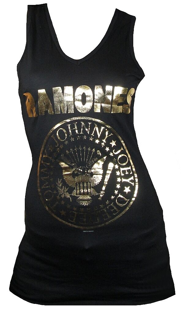 COOL COOL COOL Amplified Official The Ramones oro FOIL LOGO tunica Tank Top Mini abito L b60a48
