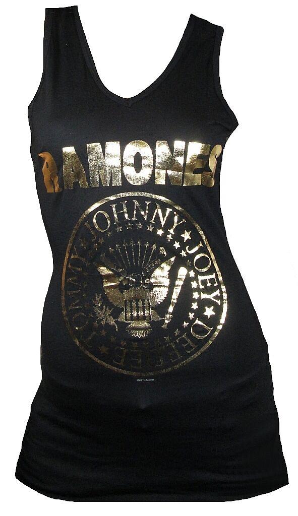 AMPLIFIED Official THE RAMONES Gold Print Logo Tunika Tank Top Mini Kleid S 36