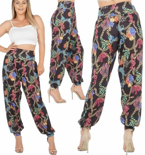 Womens Multi Colour Chain Print Ali Baba Harem Trouser Ladies Casual Wear Pants