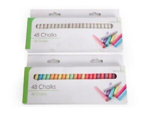 48pk-Of-Chalk-White-or-Coloured-Playground-Art-Craft-Kids-School