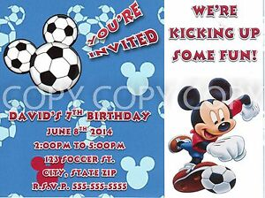 Disney Mickey Mouse Birthday Soccer Party Invitations Personalized 8