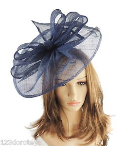 Details about Navy Blue Fascinator Hat for weddings ascot proms With  Headband C2 cc62b56b616