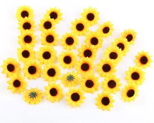 100Pcs Artificial Daisy Silk Flower Heads for Diy Wedding Party Yellow Sunflower