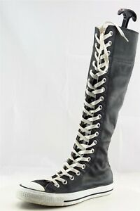 Converse-All-Star-Boot-Sz-7-M-Sneaker-Round-Toe-Black-Leather-Women