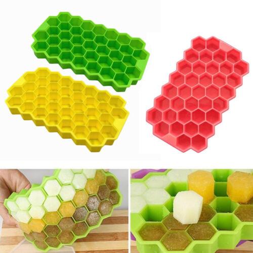 Neuf Réutilisable doux fond crème plateaux Ice Cube Moule nid d/'abeille Shap Silicone