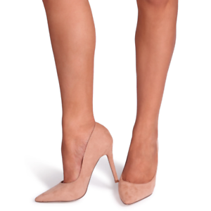 DYNAMIC Nude Suede Stiletto Pointed Court Heel