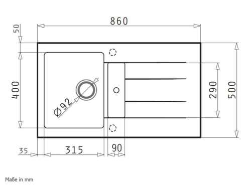 1 1//4B 1D Iron Grey Granitspüle Pyramis Athlos 86x50
