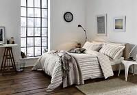 Charcoal Grey Stripe Duvet Cover Set / Bedding By Designer Peacock Blue