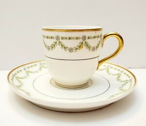 ANTIQUE-LIMOGES-FRANCE-CHARLES-MARTIN-GREEN-SWAG-LEAVES-DEMITASSE-CUP-amp-SAUCER