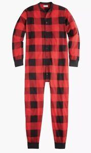 New-J-Crew-Knit-Goods-Large-Union-Suit-Red-Buffalo-Plaid-Pajamas-Check-Robe-PJs