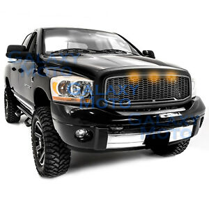 06-09-Dodge-RAM-Raptor-Style-Matte-Black-Replacement-Mesh-Grille-Shell-Amber-LED