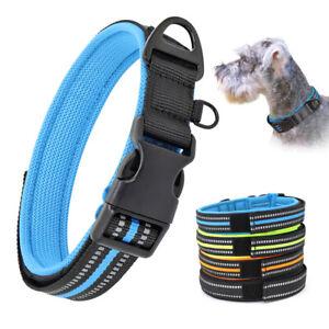 Hundehalsband-Reflektierend-Nylonhalsband-Gepolstert-Halsbaender-Halsung-XS-S-M-L