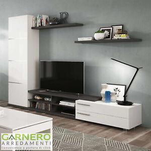 Dettagli su Parete attrezzata MELISSA bianco/grigio mobile tv soggiorno  moderno