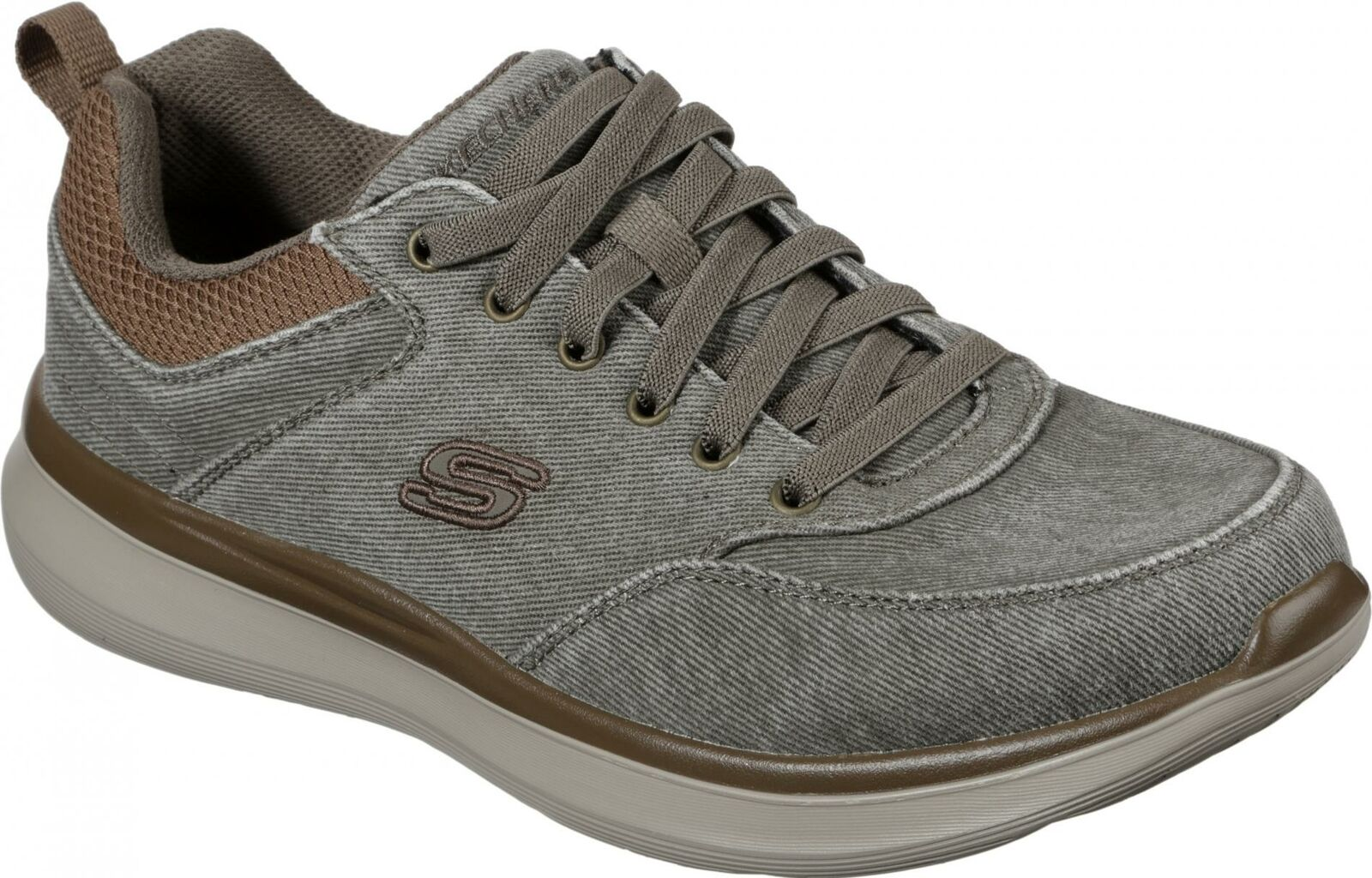 Skechers DELSON 2.0 KEMPER Mens Lightweight Canvas Slip On Casual Trainers Khaki