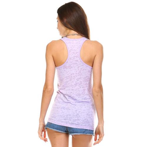 New Fashion Ladies Womens Burnout Workout Sleeveless Racerback Tank Top