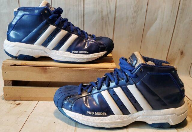 Adidas Pro Model 2G Shell Toe Mid Basketball Shoes BlueWhite Men Sz 7.5 M