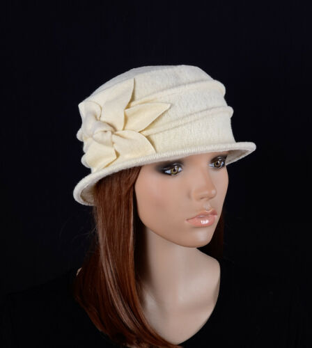M495 Purple Women/'s Cute Flower Wool Acrylic Winter Beanie Hat Cloche Dress Cap