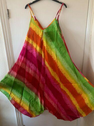 NEW LADIES INDIAN TIEDYE  SLEEVELESS SUMMER SUN DRESS FIT 10 12 14 16 18