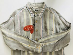 NWT-TOMMY-BAHAMA-Men-s-XL-100-Linen-Gray-Striped-Long-Sleeve-Button-Shirt-110