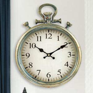 Vintage Deko Wand Uhr Eisen antik blau Wohn Ess Zimmer Retro Zeit Anzeige Glas