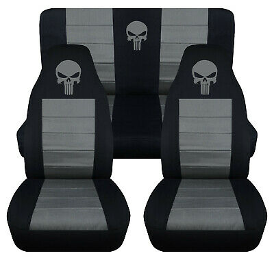 Front Rear Car Seat Covers Black Charcoal W Punisher Fits Wrangler
