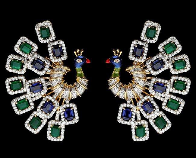 6.78ct NATURAL DIAMOND 14K SOLID YELLOW gold EMERALD SAPPHIRE WEDDING EARRING