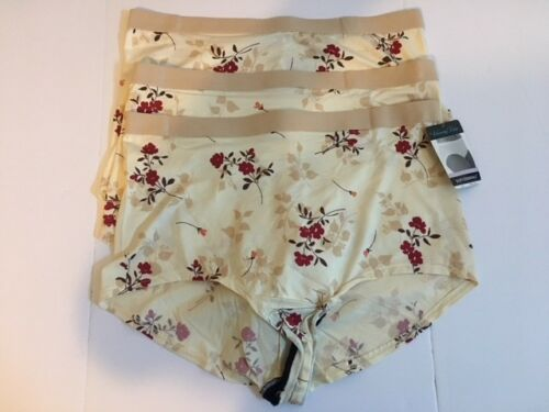 Vanity Fair Soft Essentials 3-Pack Brief Panties Beige Floral Size 9 13089