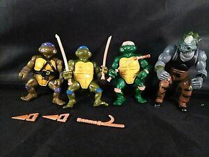 TMNT-1988-Lot-of-4-Leo-Mike-Don-Rocksteady-Vintage-Rare-Ninja-Turtles