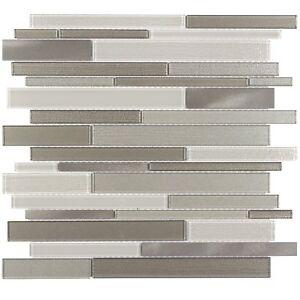 Details About Linear Beige Glossy Gl Metal Mosaic Tile Backsplash Kitchen Wall Mto0168
