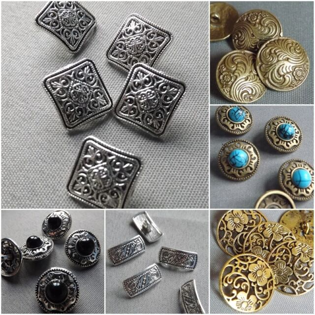 Antique Style Metal Carved Pattern Design Sewing Buttons Crafts Classic & Simple