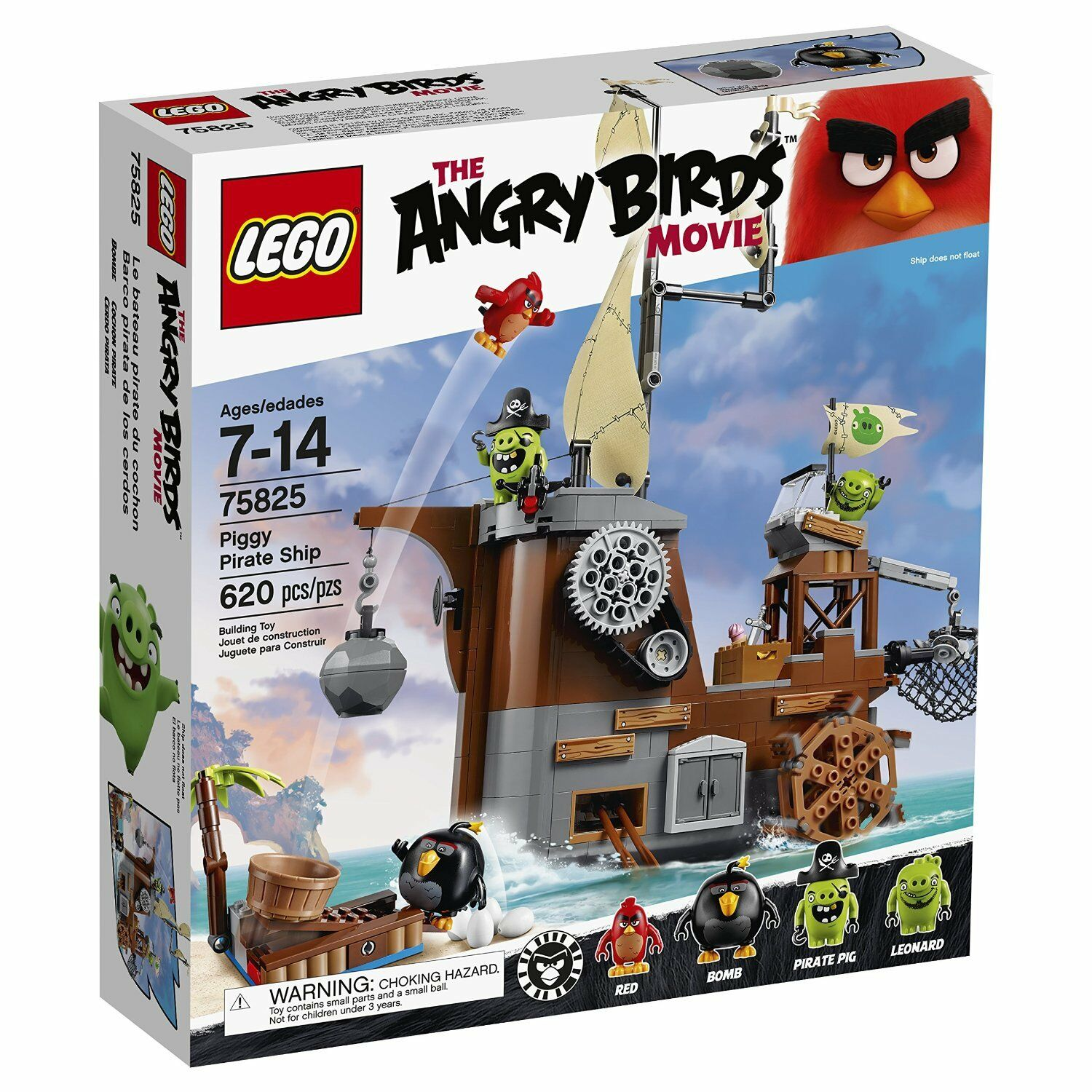 LEGO Angry Birds Cochon Pirate Ship Building Kit 75825