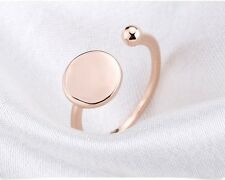 18K ROSE GOLD PLATED  DISK SPARKLING RING FLAT CIRCLE EVERY DAY FASHION 2017
