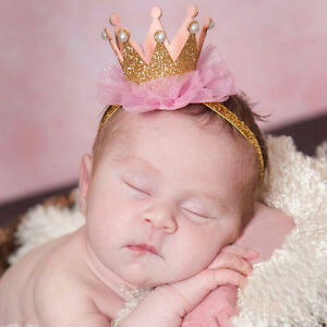 Baby Kleinkind glänzende Krone Stirnband Prinzessin Haarspange Spitze Haarband