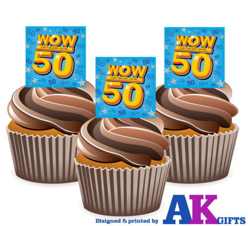 PRECUT 50th Birthday WOW 12 Edible Cupcake Toppers Cake Decorations Party