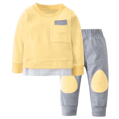 2PCS Newborn Infant Baby Boy Girl Autumn T shirt Tops+Pants Outfits Clothes Set